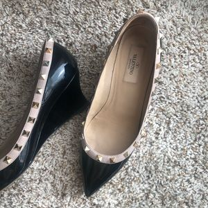 Valentino wedged heels, size 38.5 patent black